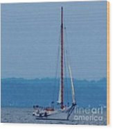 Skipjack Mast Lowering On The Bay Wood Print