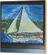 Skipjack Nathan Of Dorchester Famous Sailboat At Sea Wood Print
