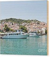Skopelos Harbour Greece Wood Print