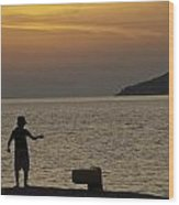Skopelos Sunset - Fisher Boy - 1 Wood Print