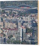 Skopje City And Stadium Wood Print
