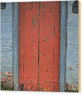 Skc 0401 Closed Red Door Wood Print