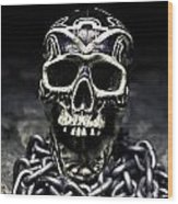 Skull And Chains Wood Print