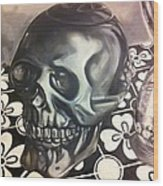 Skull And Hourglass Wood Print