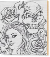 Skull And Roses Wood Print