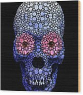 Skull Art - Day Of The Dead 1 Stone Rock'd Wood Print