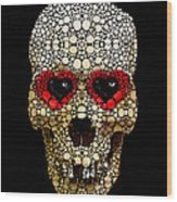 Skull Art - Day Of The Dead 3 Stone Rock'd Wood Print