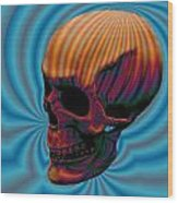 Skull Aura Orange Wood Print by Jason Saunders