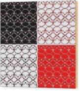 Skull Black Red White Pattern Background Wood Print
