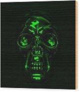 Skull In Green Wood Print