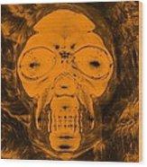 Skull In Negative Orange Wood Print