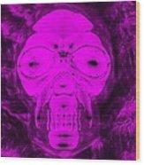 Skull In Negative Purple Wood Print