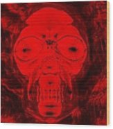 Skull In Negative Red Wood Print