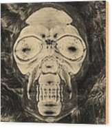 Skull In Negative Sepia Wood Print