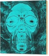 Skull In Negative Turquois Wood Print