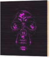 Skull In Purple Wood Print