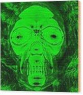 Skull In Radioactive Negative Green Wood Print