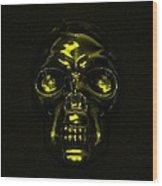 Skull In Yellow Wood Print