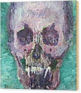 Skull Vampire Oil Portrait Wood Print