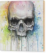 Skull Watercolor Painting Wood Print