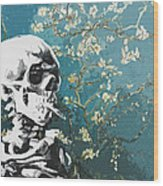 Skull With Burning Cigarette On Cherry Blossom Wood Print