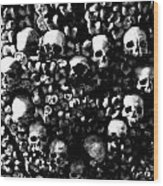 Skulls And Bones In The Catacombs Of Paris France Wood Print