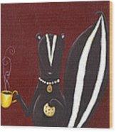 Skunk With Coffee Wood Print