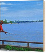Sky Blue Calm Waters Fisherman On The Pier  Lachine Canal Montreal Summer Scenes Carole Spandau Wood Print