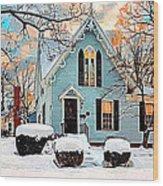 Sky Blue Gingerbread House  Wood Print by Dorothy Walker