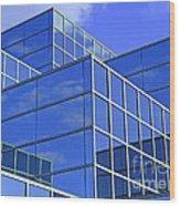 Sky Blue Mirror Wood Print