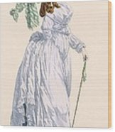 Sky Blue Promenade Dress With Green Wood Print