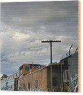 Sky Clouds And Graffiti Old Santa Fe Railyard Wood Print
