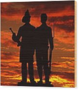Sky Fire - 73rd Ny Infantry Fourth Excelsior Second Fire Zouaves-a1 Sunrise Autumn Gettysburg Wood Print