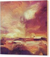 Sky Fire Abstract Realism Wood Print