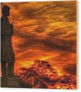 Sky Fire - West Virginia At Gettysburg - 7th Wv Volunteer Infantry Vigilance On East Cemetery Hill Wood Print by Michael Mazaika