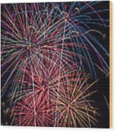 Sky Full Of Fireworks Wood Print