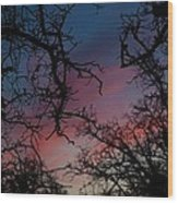 Sky In Blue And Magenta Wood Print
