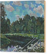 Sky In The River Wood Print