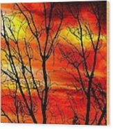 Sky Is Burning Wood Print
