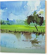 Sky N Farmland Wood Print