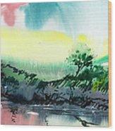Sky N Lake Wood Print