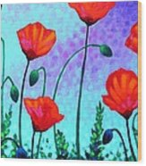 Sky Poppies Wood Print