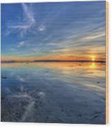 Sky Reflection In Boundary Bay Wood Print