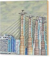 Sky Stations Pylon Caps - Downtown Kansas City Missouri Wood Print