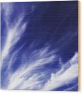 Sky Wisps Blue Wood Print