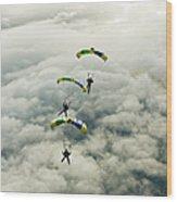 Skydivers In Mid-air Wood Print