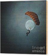 Skydiver's Moon Wood Print