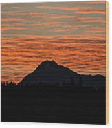 Skyfire Over The Olympic Mountains Wood Print