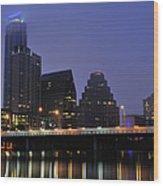 Skyline And Bridge In Austin Wood Print