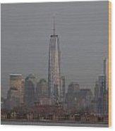 Skyline And Ellis Island At Dusk Wood Print
